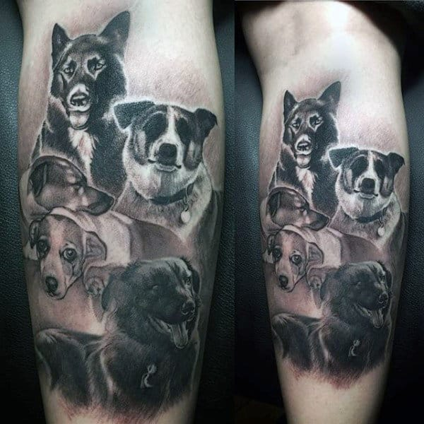 Realistic Dogs Animals Tattoos For Men On Leg Calf