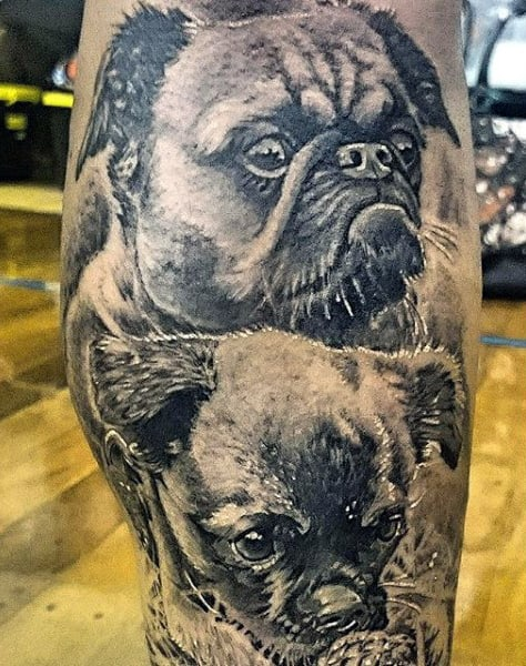 Realistic Dogs Tattoo For Guys On Legs