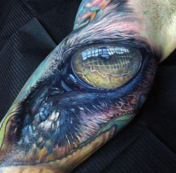 Realistic Dragon Eye Cool Arm Tattoo For Guys