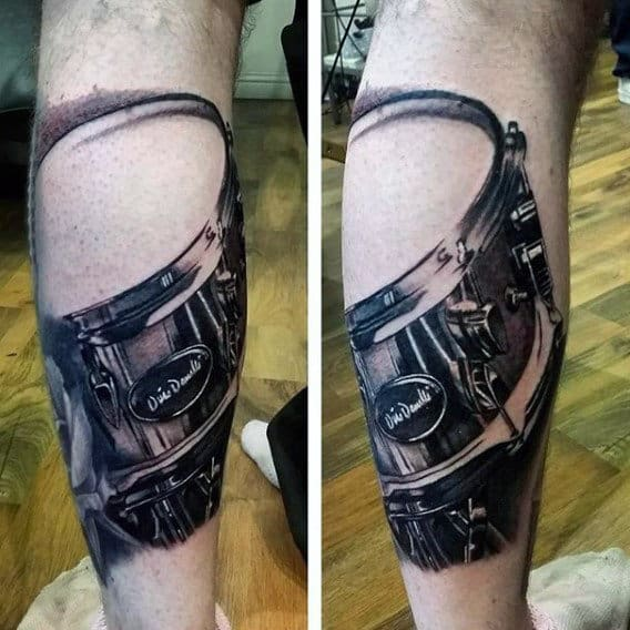 Realistic Drum Leg Tattoo For Men