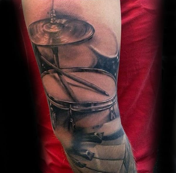 Realistic Drum Set Mens Arm Sleeve Tattoos