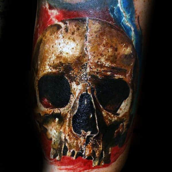 realistic-electric-mens-skull-arm-tattoo