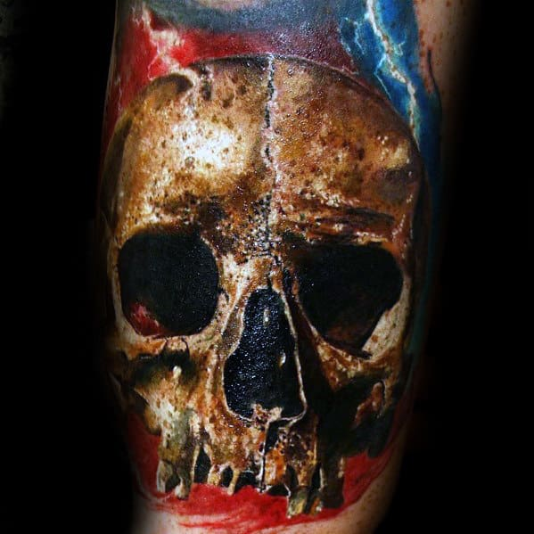 Realistic Electric Mens Skull Arm Tattoo