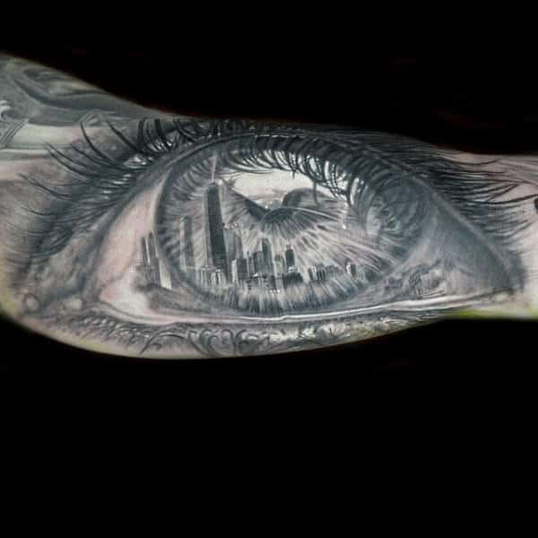 Realistic Eye Chicago Skyline Tattoo For Men On Bicep