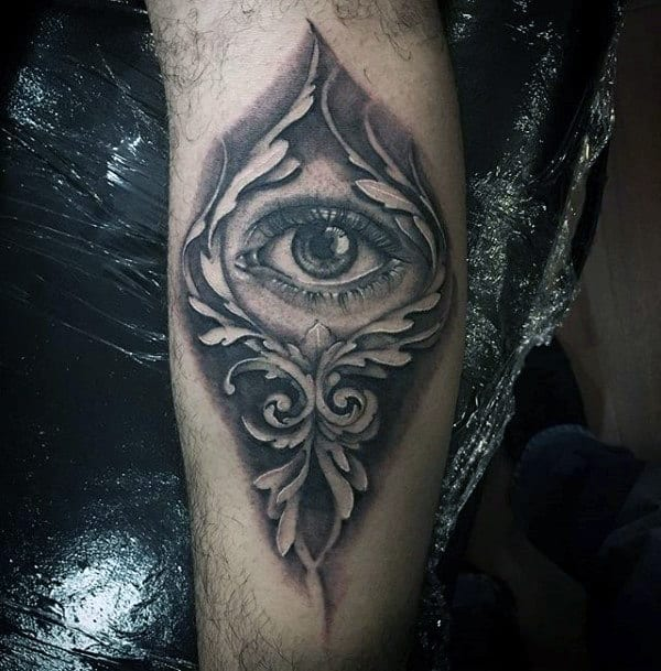 Realistic Eye Filigree Mens Leg Tattoos
