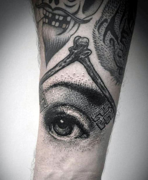 Realistic Eye Illuminati Tattoo For Men Forearms