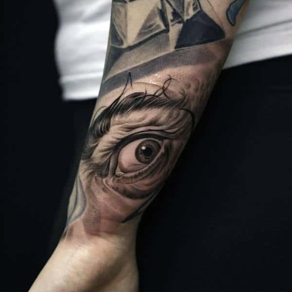 Realistic Eye Inner Forearm Guys Tattoos