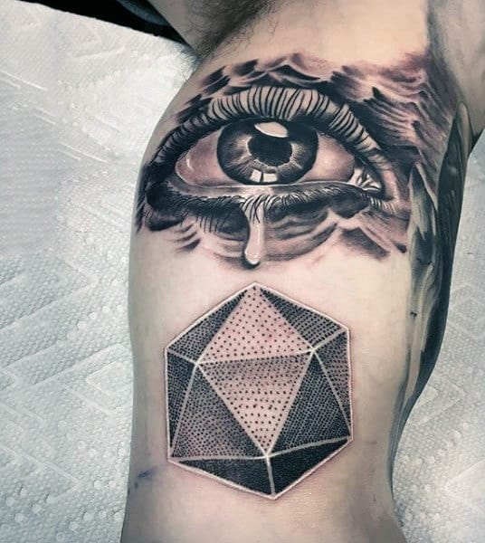 Realistic Eye With Tear Falling On Dotted Hexagon Tattoo Male Arms