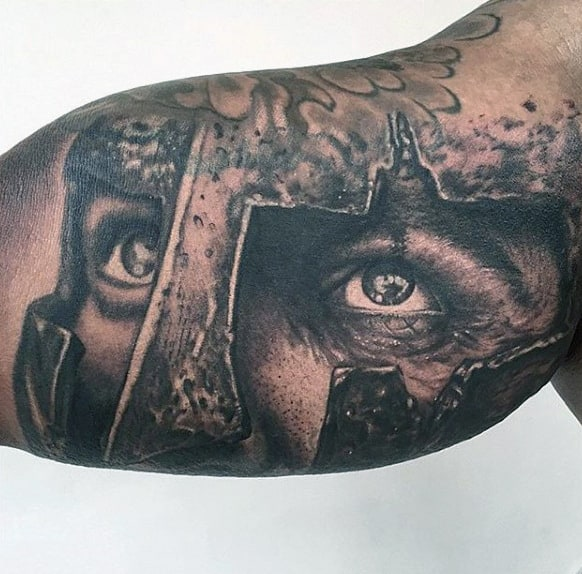 Realistic Eyes Of Warrior Tattoo Guys Arms