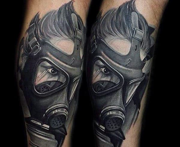 Realistic Face Wearing Gas Mask Male Tattoo Design