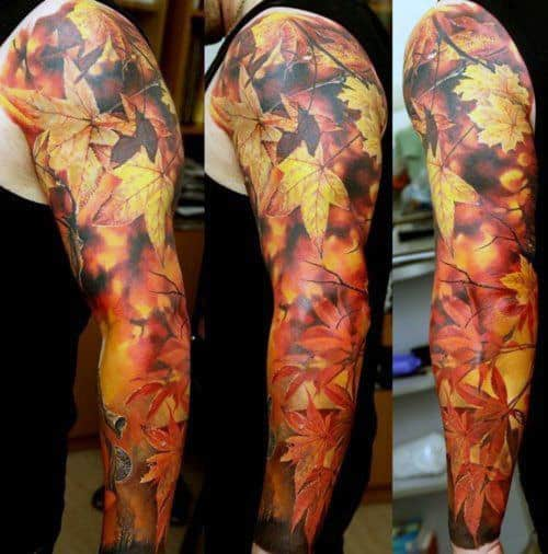 Realistic Fall Sleeve Maple Leaf Tattoos For Men