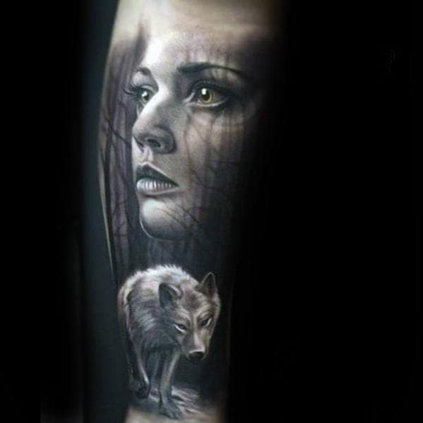 Realistic Female Portrait With White Wolf Mens Forearm Tattoo
