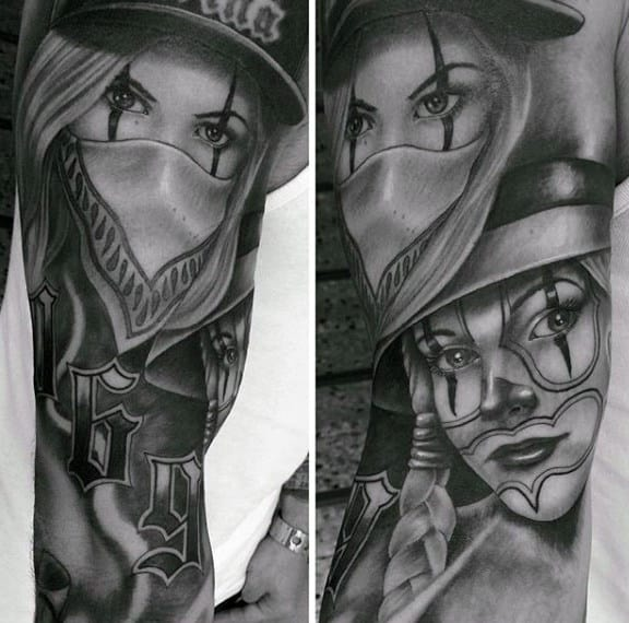 Realistic Females Chicano Mens Sleeve Tattoos