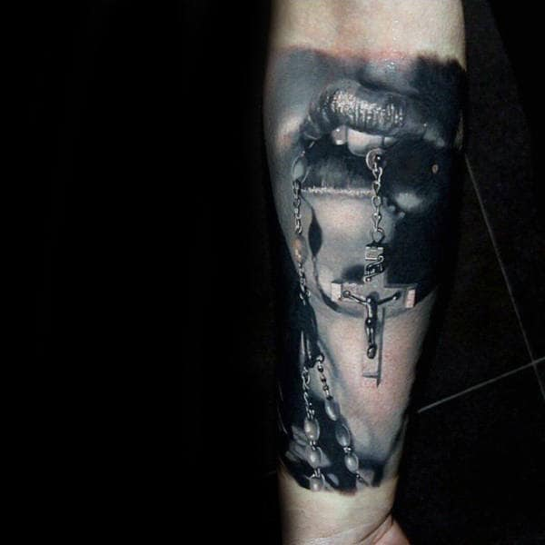 Realistic Forearm Rosary Tattoo Designs For Gentlemen