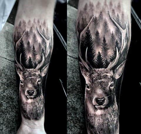 Realistic Forearm Sleeve Animal Deer Tattoo On Man