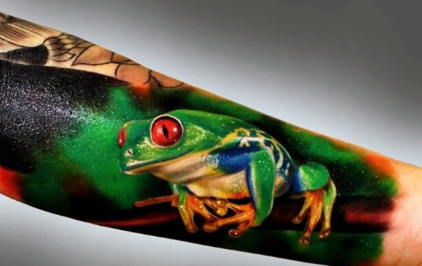 Realistic Forearm Sleeve Frog Tattoos For Guys