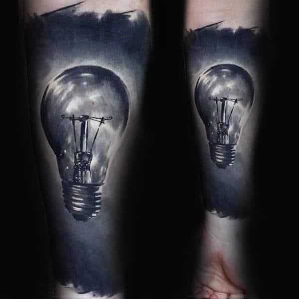 Realistic Forearm Sleeve Light Bulb Guys Tattoo Ideas