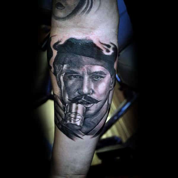 Realistic Forearm Tattoo Of Man Drinking On Male