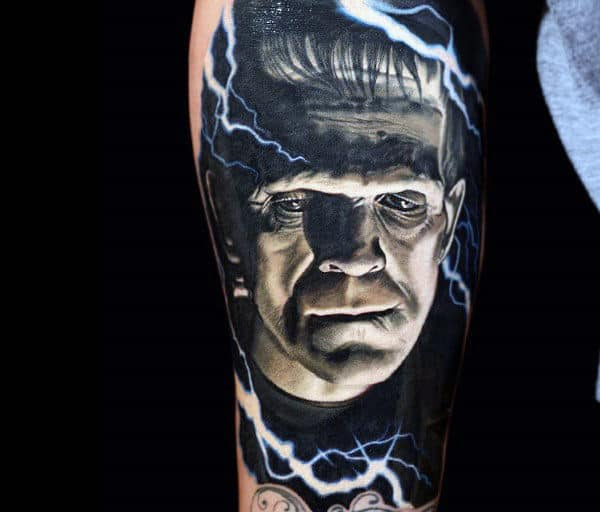 Realistic Frankenstein With Lightning Electric Bolts Mens Sleeve Tattoos
