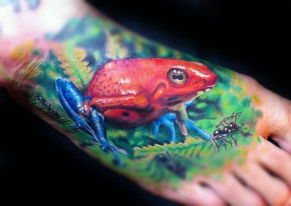 Realistic Frog Foot Tattoos For Men