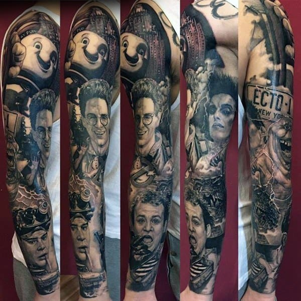 Realistic Full Arm 3d Sleeve Male Ghostbusters Tattoo Ideas