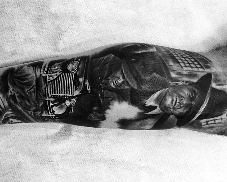 Realistic Gangster Scene Mens Leg Sleeve Tattoo