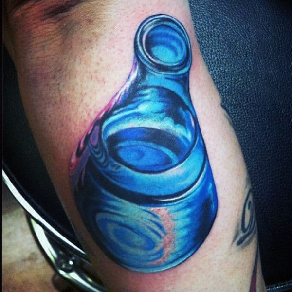 Realistic Glass Beaker Chemistry Mens Arm Tattoo Ideas