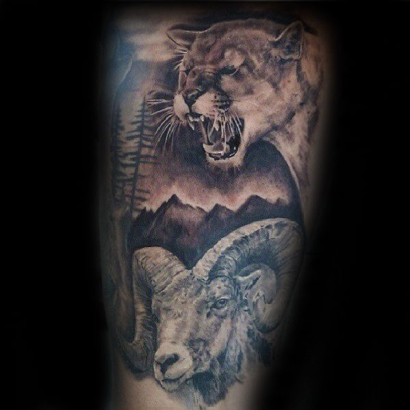 Realistic Goat With Mountain Lion Male Arm Tattoo Ideas