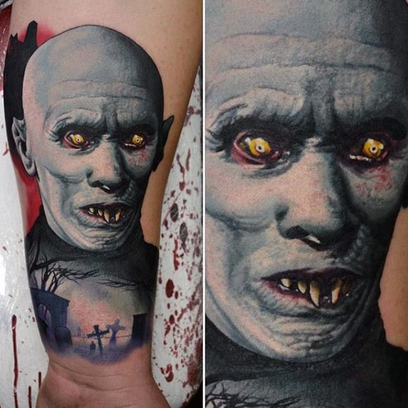 Realistic Graveyard Vampire Tattoos For Men On Wrist