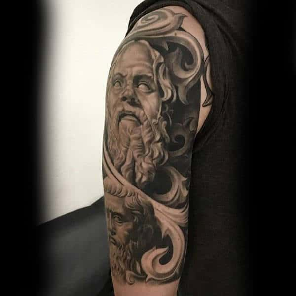 Realistic Greek God 3d Male Stone Tattoos Half Sleeve