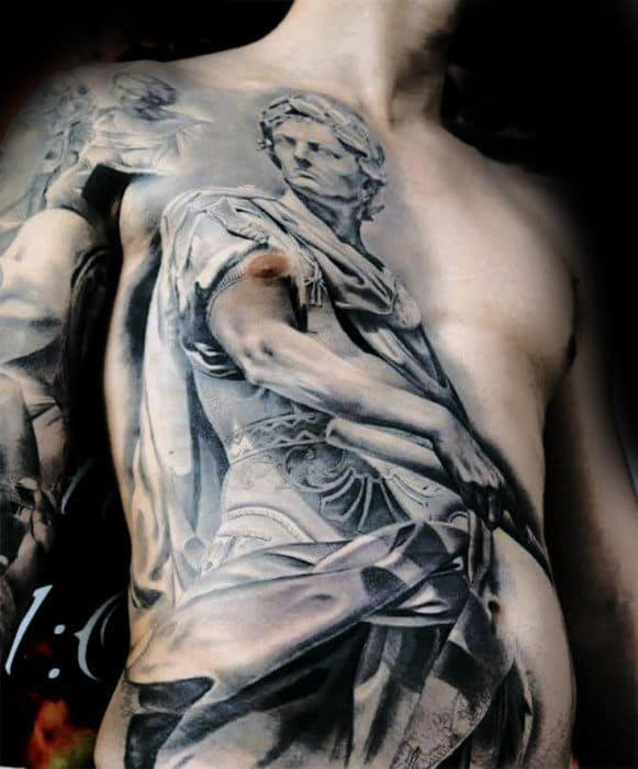 Realistic Greek God Guys Cool Chest Tattoo With Shaded Black And Grey Ink