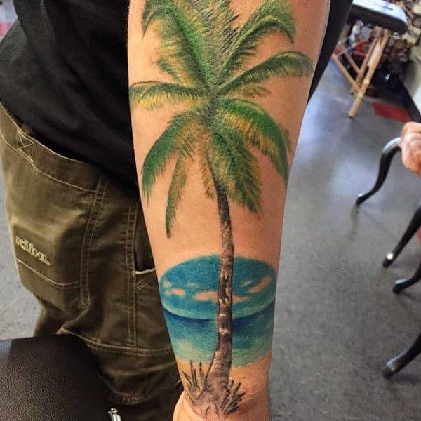 100 palm tree tattoos for men tropical design ideas for Realistic tree tattoos