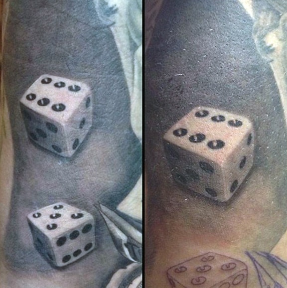 Realistic Grey And White Male Dice Tattoo Style