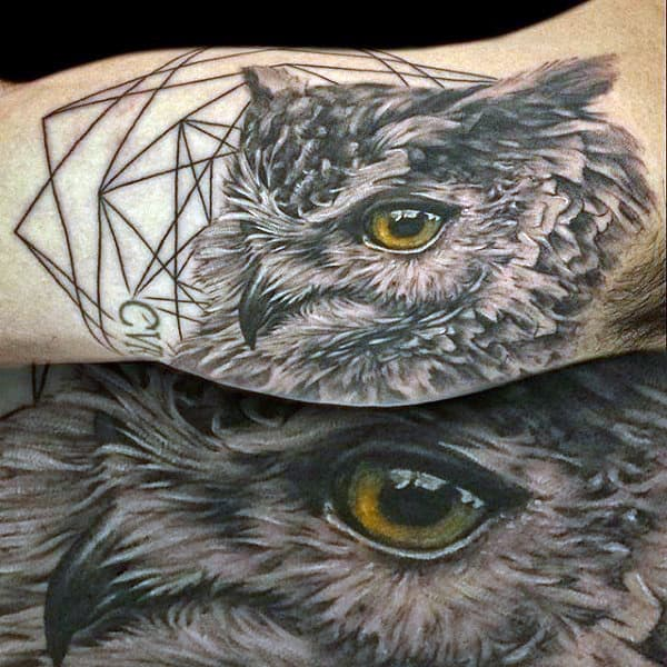 Realistic Grey Owl Tattoo On Man With Yellow Eyes