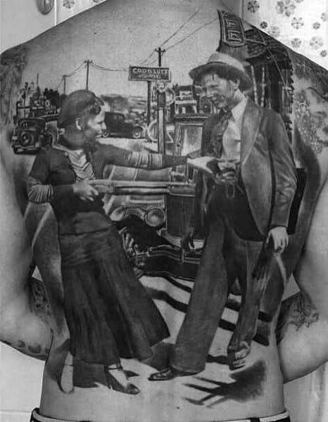 Realistic Grey Photographic Image Tattoo Male Full Back