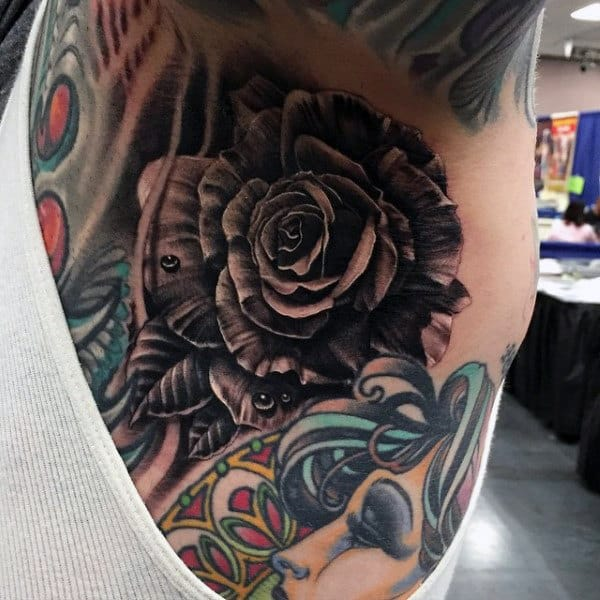Realistic Grey Rose Tattoo Male Armopit