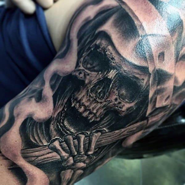 Realistic Grim Reaper Tattoo Sleeves On Men