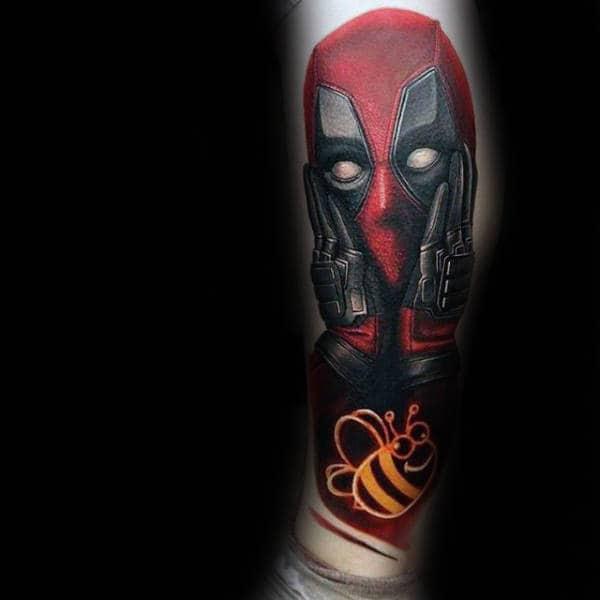 Realistic Guys 3d Deadpool Leg Tattoo Inspiration