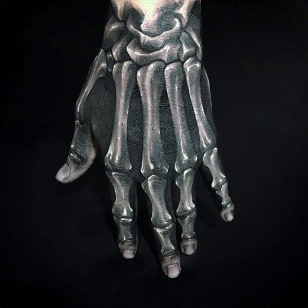 Realistic Guys 3d Skeleton Hand Tattoo Designs