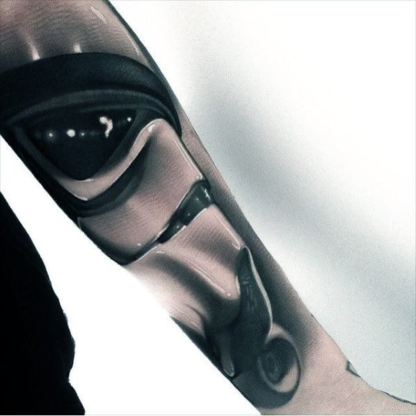 Realistic Guys 3d Star Wars Tattoo Sleeve On Forearms