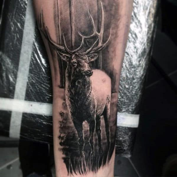 Realistic Guys Animal Deer Tattoo Design Ideas