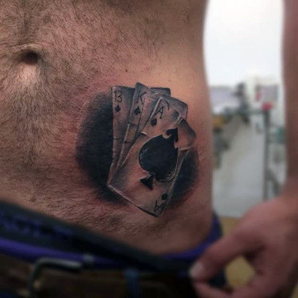 Realistic Guys Black Ink Playing Card Lower Ribs Tattoo