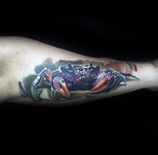 Realistic Guys Crab Arm Tattoos With Watercolor Background