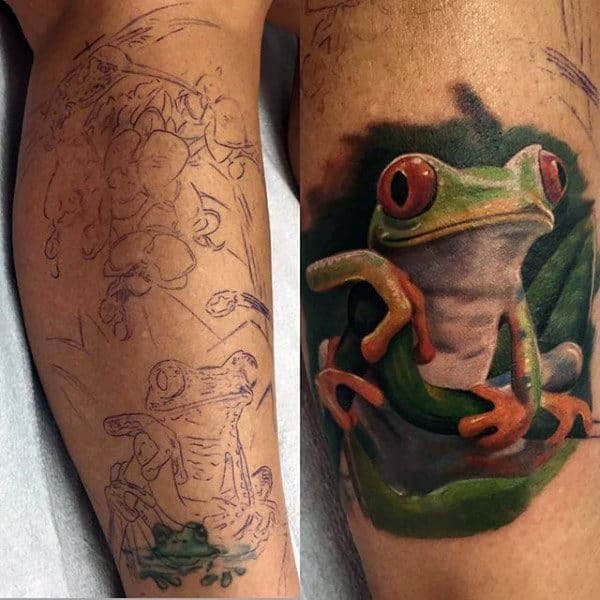 Realistic Guys Green Frog Tattoo On Lower Leg