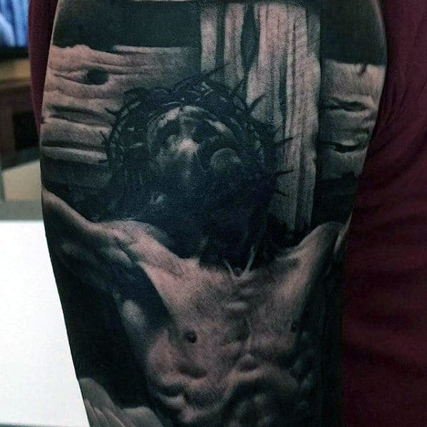 Realistic Guys Jesus On The Cross Tattoo On Arms
