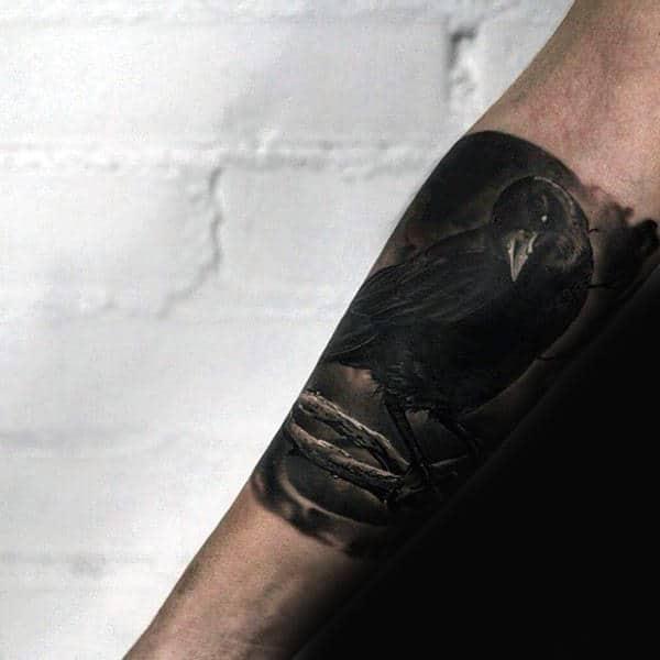 Realistic Guys Quarter Sleeve On Forearm Crow Tattoo