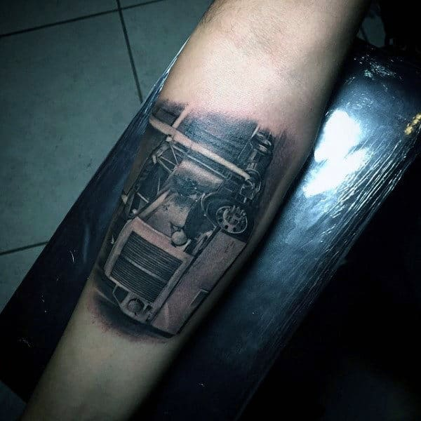 Realistic Guys Semi Truck Inner Forearm Tattoo Designs