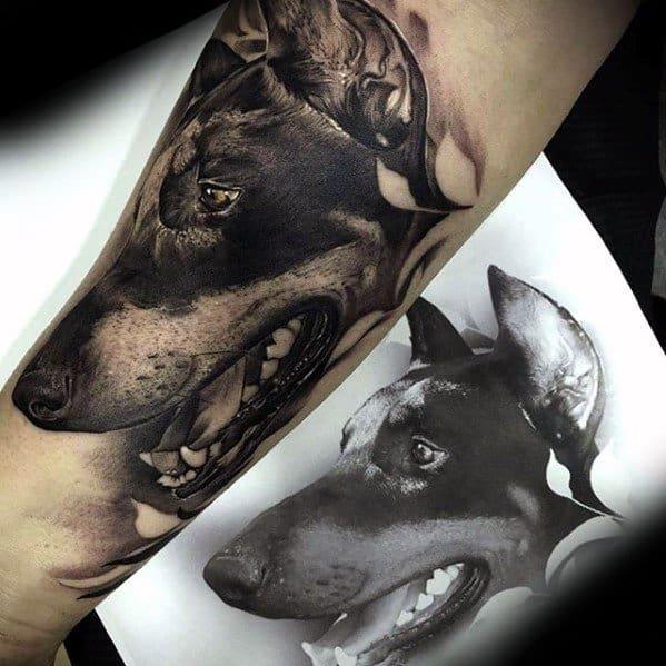 Realistic Guys Tattoo Ideas Doberman Designs