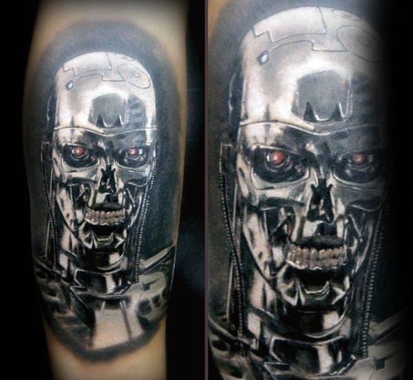 Realistic Guys Terminator Metallic Tattoo On Arms