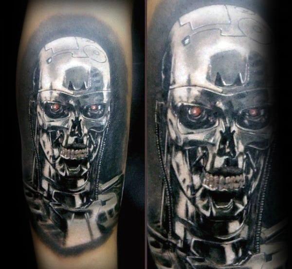 Realistic Guys Terminator Metallic Tattoo On Arms